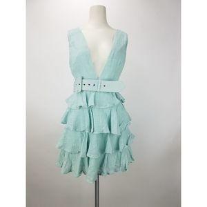 Angel Biba Ruffle Deep V Dress